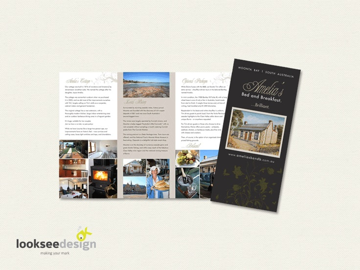 Amelia's Bed and Breakfast Promotional Brochure - Designed by Looksee Design