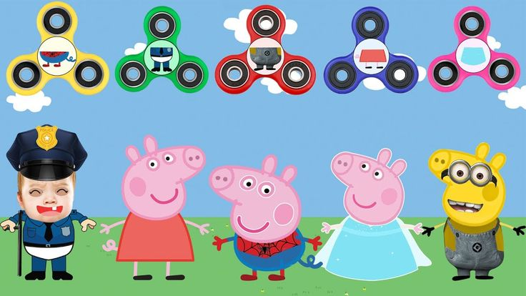 Peppa Pig Wrong Dress FIDGET SPINNERS Minions Elsa Police Baby Learn Col...
