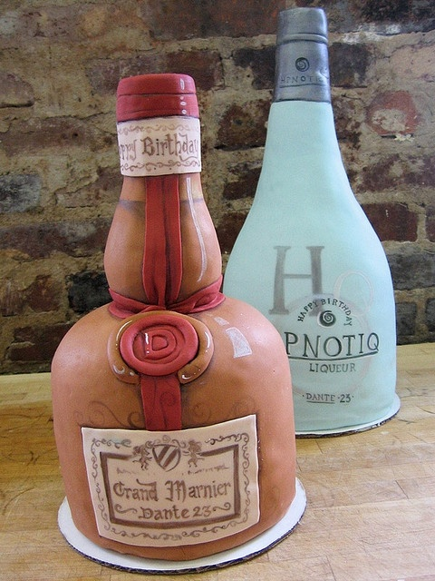 liquor bottle cakes~ filled with cakes soaked in the liquors. :D  Love these!