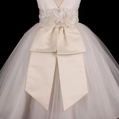 Vestido de boda marco De Marfil de niña con Cintura Arco S M L 12M 18M 2 4 6 8 10 12