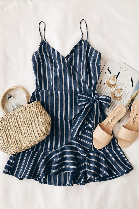 Voyage Blue and White Striped Wrap Dress – Odd Gurl