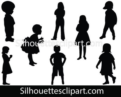 Children Silhouette Vector Graphics Pack