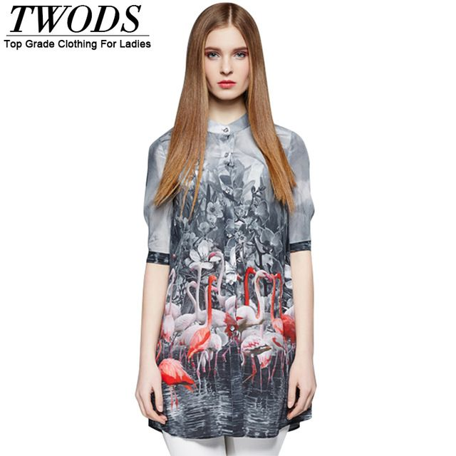 Twods New Fashion Silk Swan Print Shirts Women Half Sleeve Front Button Stand Collar Ladies Long Tops Casual Blusas Summer US $79.86 /piece To Buy Or See Another Product Click On This Link  http://goo.gl/IdJFhm