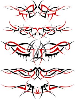 iCLIPART.com Mobile- Patterns of black and red tribal tattoo for design use