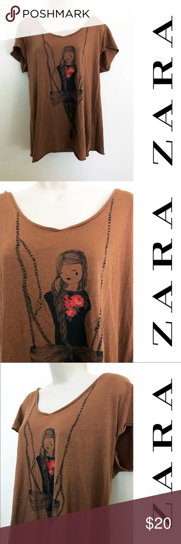 Suuuper cute Zara Tshirt with illustration Adorable! And a nice chocolate color - size Large - lightweight and comfortable - very cute illustration 😻 Zara Tops Tees - Short Sleeve