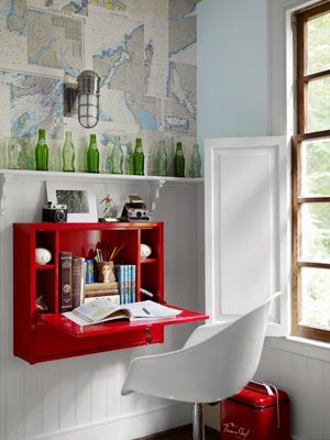 If you don't have enough room for a desk, simply mount one against the wall. #storage #decorating
