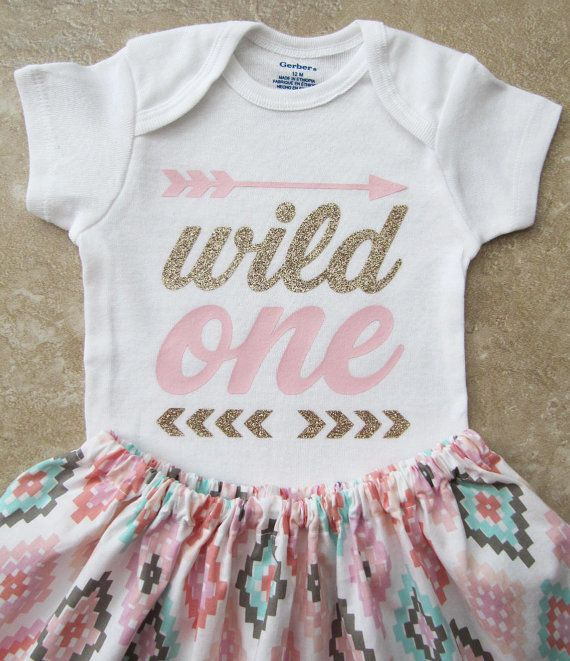 Wild One First Birthday Outfit Girl - pink gold, feather, aztec, tribal, arrow