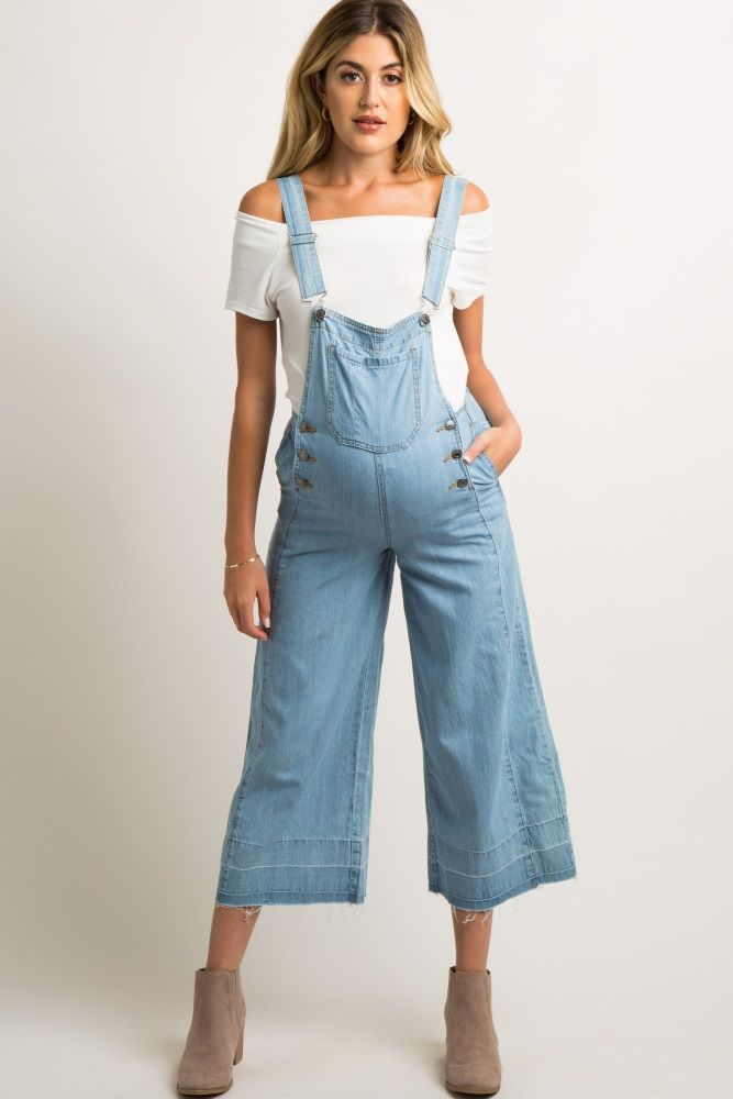 be4d25b79f6 Light Blue Chambray Pocket Front Maternity Overalls in 2019