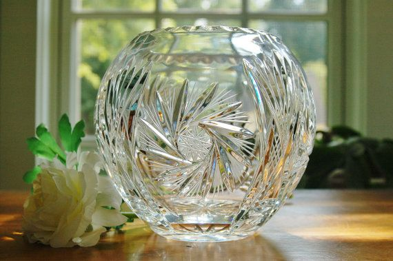 Crystal Rose Bowl Vase 6 Quot Etched Star And Pinwheel Pattern Round Brilliant Cut Glass Vase