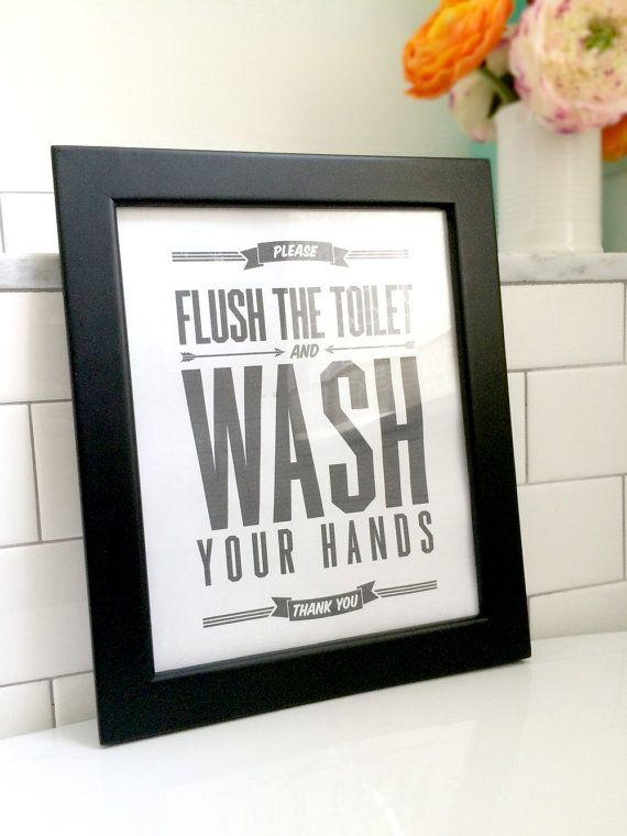 Flush sign bathroom decor printable art flush toilet for Funny bathroom decor