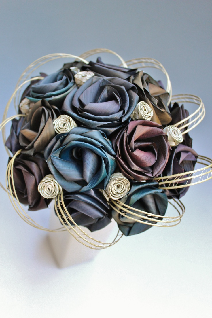 Brides bouquet in differnt shades of black with white buds & loops  www.flaxation.co.nz