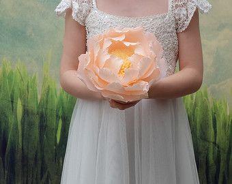 flores de papel papel boda bouquet novia Ramos por FlowerDecoration