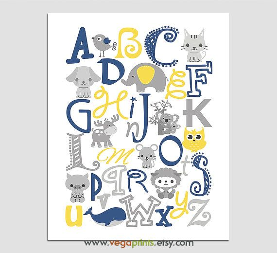 Navy and yellow Animals Alphabet wall art print by VegaPrints