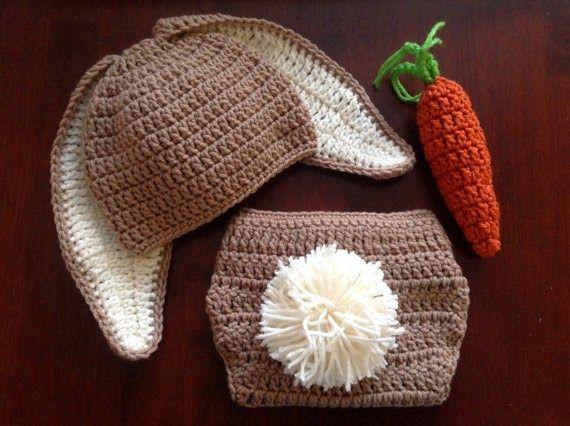 Sidney Artesanato: Baby crochet bunny hat and diaper cover - so cute!