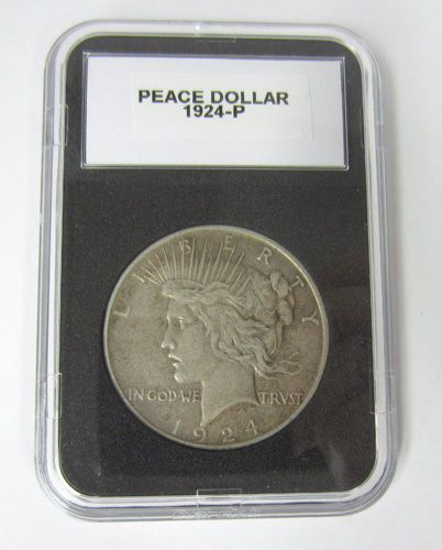 1924-P Liberty Peace Silver Dollar Coin High Grade US Currency Protective Case