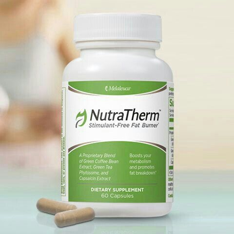 NutraTherm Stimulant-Free Fat Burner Get a naturally powered, stimulant-free metabolism boost with NutraTherm. A proprietary blend of Green Coffee Bean Extract, Green Tea Phytosome™Complex, and Capsaicin Extract will help your body break down and burn fat, slow sugar absorption, and increase calorie burning.