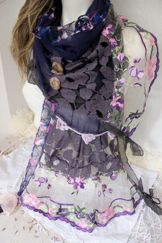 Purple cotton scarf Purple lace scarves Mothers gift Woman