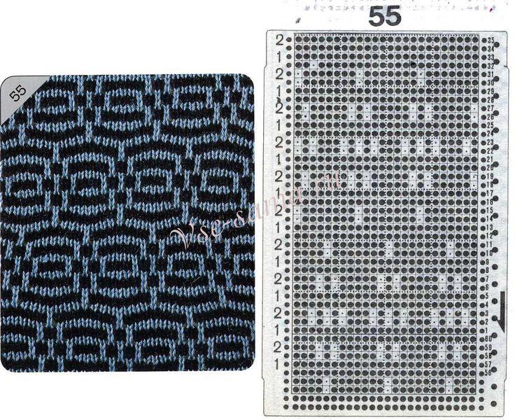 Узор 55 - Многоцветный прессовый узор и перфокарта для вязальной машины Brother