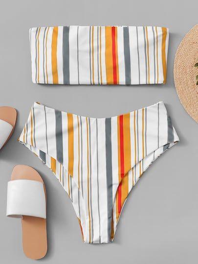 a7f9a78cfc Random Striped Bandeau With High Leg Bikini [swimwear181213813] - $28.00 :  moonbaye.com