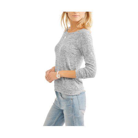 No Comment Women's Cozy Scoop neck Open Back Sweatshirt, Gray