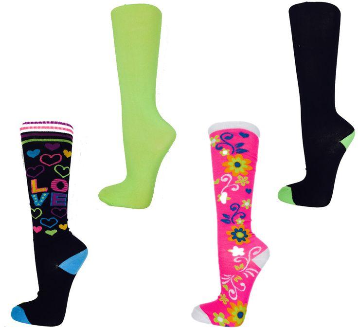 women's neon knee high novelty socks - 4 pair packs Case of 24