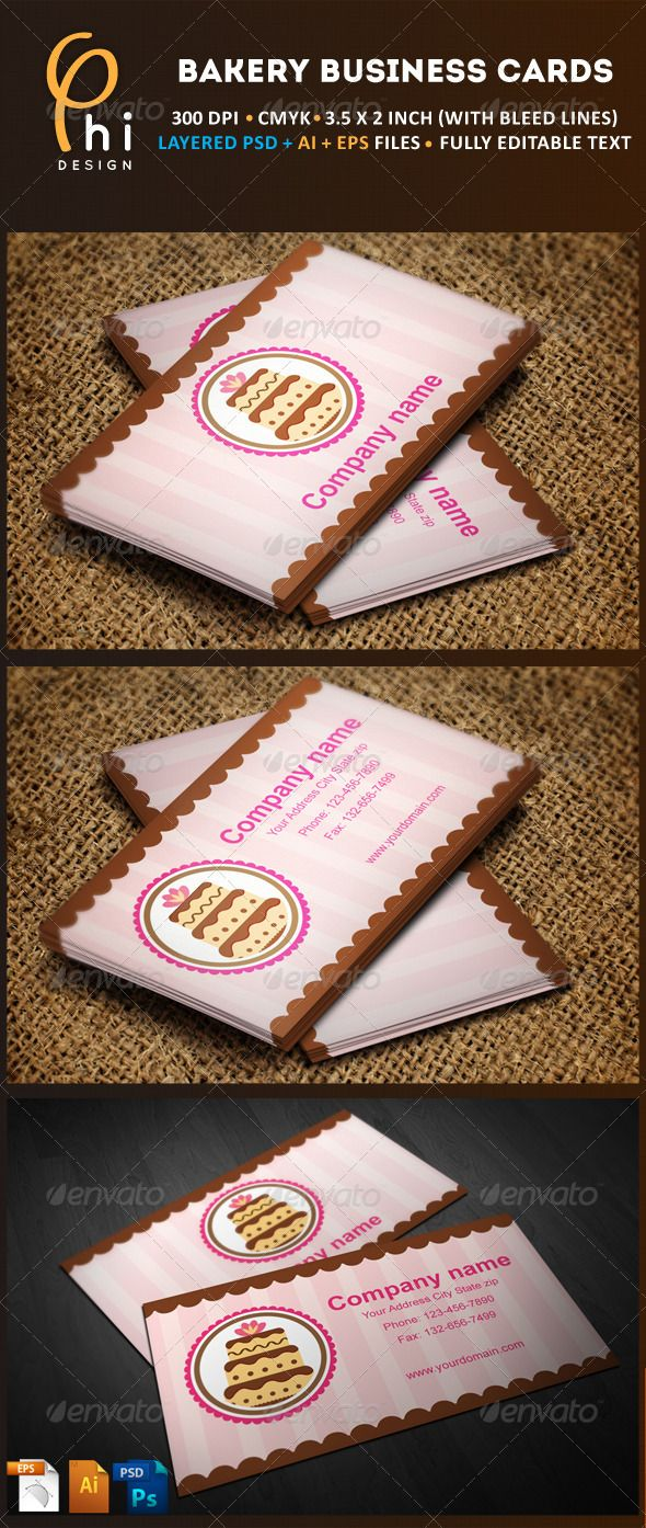 Bakery Business cards  #GraphicRiver         Modern business card have a meaning of ( weddings, Party,....), can be used especially for bakery and cake shop.   Fonts info:   'Halo Handletter' you can download from :   .dafont /halohandletter.font  'Arial' Original from windows.     Created: 12September12 GraphicsFilesIncluded: PhotoshopPSD #VectorEPS #AIIllustrator Layered: Yes MinimumAdobeCSVersion: CS PrintDimensions: 3.5x2 Tags: bakery #businesscard #cakes #candy #card #chocolate…