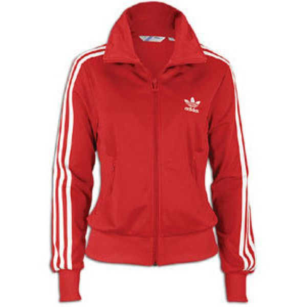 Adidas original firebird red track jacket (women) via Polyvore featuring activewear, activewear jackets, tracksuit jacket, track top, warm up jackets, adidas originals and track jacket