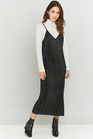 Urban Renewal Vintage Remnants Black Pleated Midi Slip Dress
