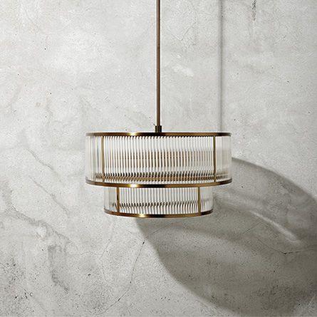 Modern Double Tiered Gem Pendant in Brushed Brass   Arhaus Furniture