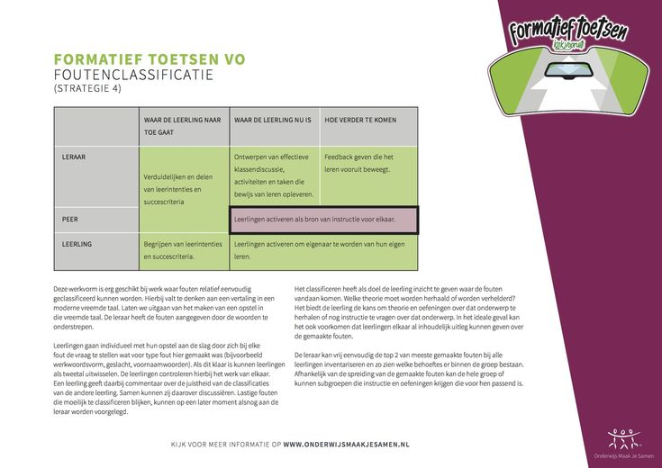 Formatief toetsen - Foutenclassificatie - strategie 4