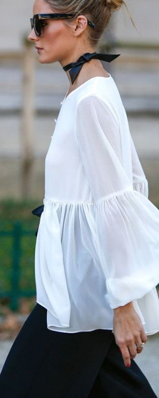 Olivia Palermo wearing sheer whites with a neck kerchief. See more at www.herstyledview.com