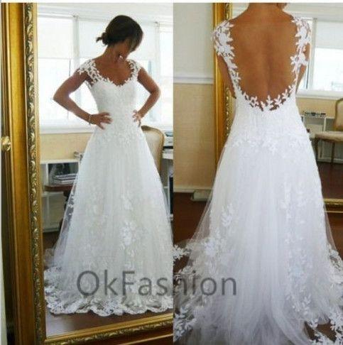 White/Ivory Cap Shoulder Lace Wedding Dress Bridal Gown