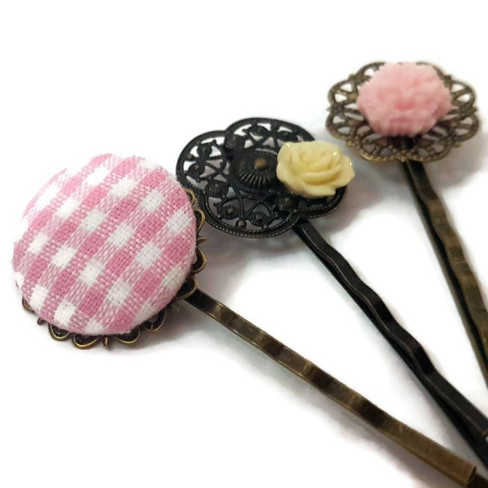 Plaid Bobby Pins-Gingham Hair Pins-Plaid Hair Slides-Flower Hair Clips-Floral Hair Combs-Pink Accessory-Set of 3-Gift for Girls-Plaid Clip