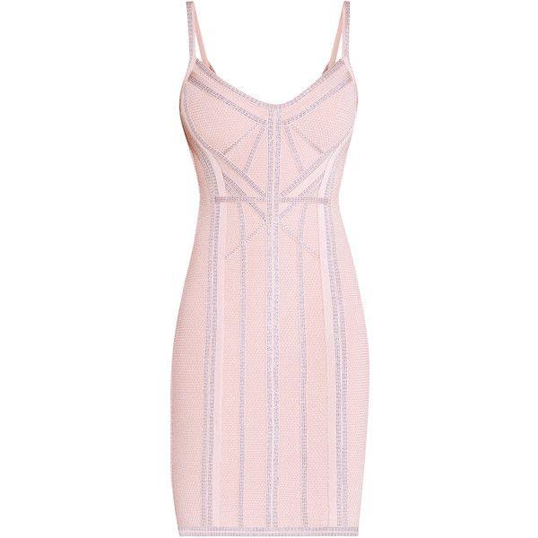Herve Leger Elissa Metallic Jacquard Dress (£1,355) ❤ liked on Polyvore featuring dresses, vestidos, body con dress, bodycon bandage dress, pink metallic dress, metallic bodycon dress and metallic jacquard dress