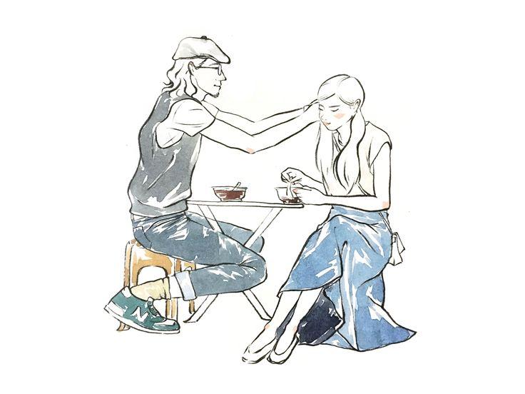 Street fashion Couple illustration by Sookie Shen