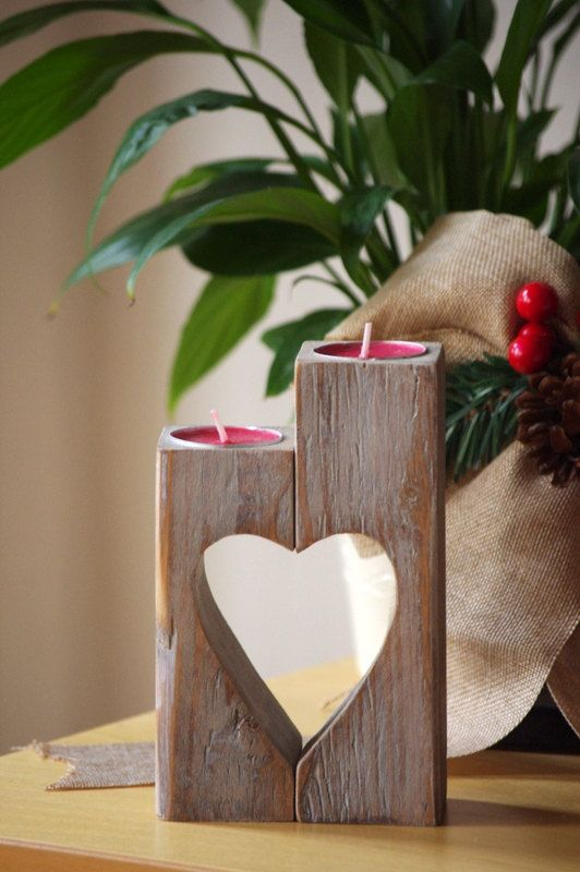 Wooden Candle holder, Heart candle holder, vintage wooden tea candle holder, Rustic candle holder, gift for mother, Christmas gift