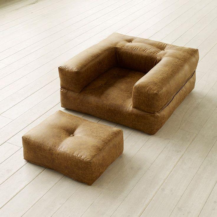 #Poltrona #letto #futon CUBE CHAIR #VINTAGE colorazione #COGNAC dallo stile chic e contemporaneamente #rétro