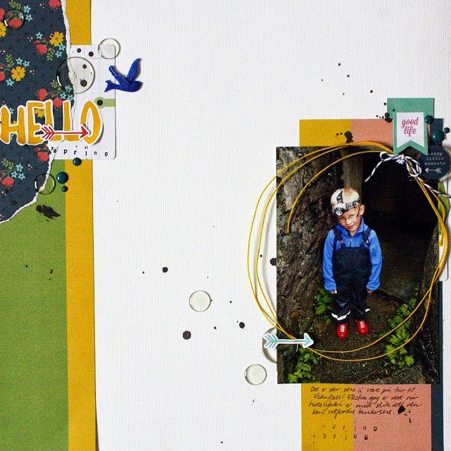 """Andrine og Marens Landhandleri - Blog - """"Hello Spring"""" layout created by Dt Linda."""