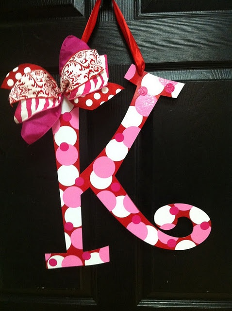 Put your family 's initial on the front door in a Valentine Theme!  (Valentine's Day Wreath)