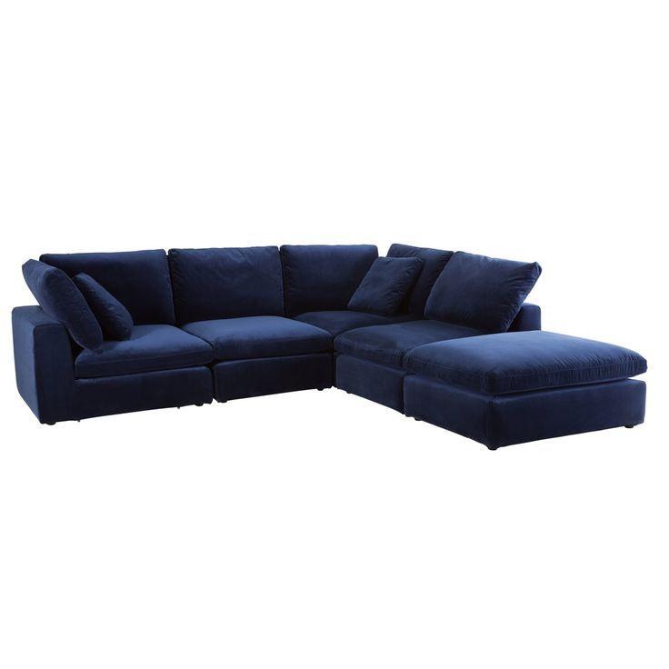 Canape D Angle En Velours Bleu Nuit Modular Corner Sofa Corner