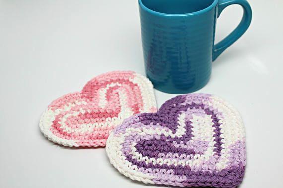Heart shaped Coffee Coasters Mug Rugs Cup Mats  Candle