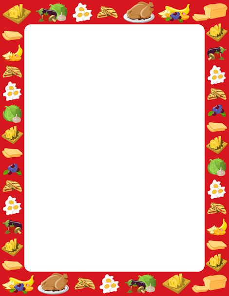 Printable food border. Free GIF, JPG, PDF, and PNG downloads at http://pageborders.org/download/food-border/