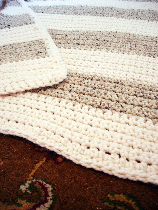 Very Simple Crochet Blanket | A Winding Road. Very classic. Maybe with the ivory and a blue to match the rug @Phyllis Simons Simons Linz