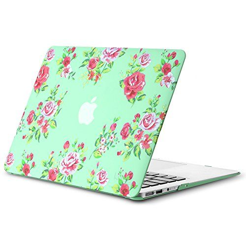 "Kuzy - AIR 13-inch Vintage Flowers Mint GREEN Rubberized Hard Case for MacBook Air 13.3"" (A1466 & A1369) (NEWEST VERSION) Shell Cover - Vintage Flower Mint GREEN"