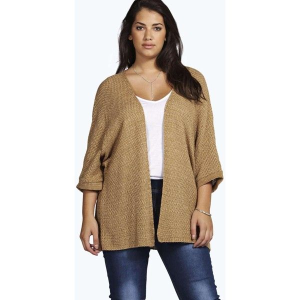 Boohoo Plus Plus Lois Loose Knit Batwing Cardigan ($26) ❤ liked on Polyvore featuring tops, cardigans, camel, knit crop top, lightweight cardigan, loose crop top, loose knit cardigan and lightweight knit cardigan