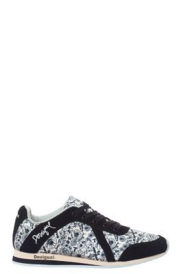 Desigual women's Runningsiete sneakers. Black and white floral print.