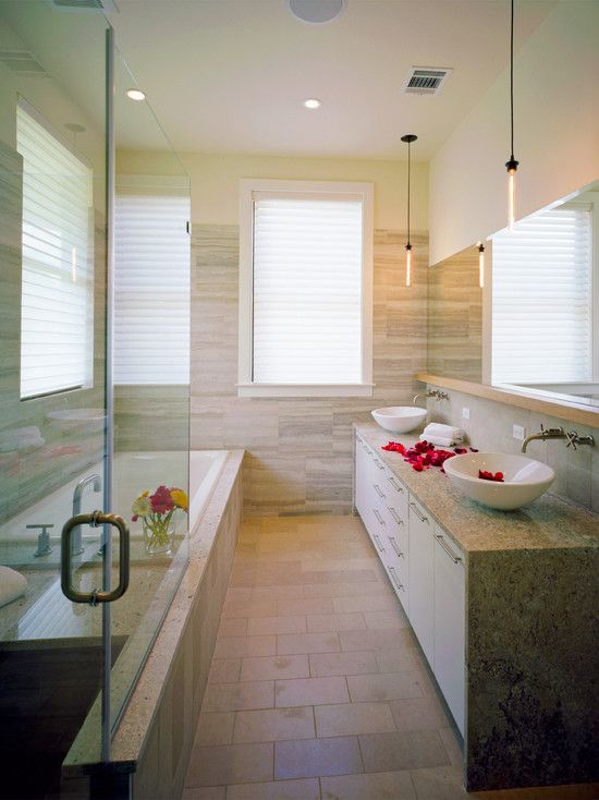 Bathroom NARROW BATHROOM Design, Pictures, Remodel, Decor and Ideas ...All cabinets below/mirror above