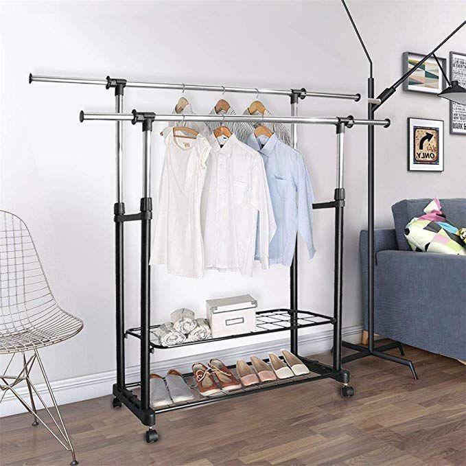 Amazon Com Jmege H162 Double Rail Clothing Rack Adjustable Stainless Steel Garment Rack Commercial Grade Rolling Cl Clothing Rack Garment Racks Rails Clothing