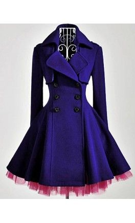 Womens Vintage long sleeve double breasted flared trench with tulle hem. - Apostolic Clothing #vintage #jackets #coats