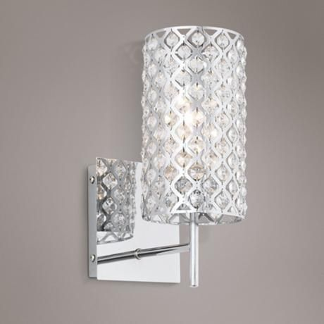 Bathroom wall sconce lighting with model image for Crystal bathroom wall sconces